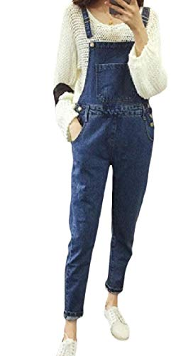 Nicelly Women Button-Down Skinny Stylish Washed Pocket Denim Rompers Overalls L