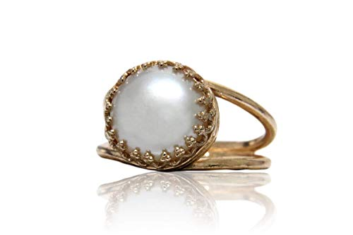 - Anemone Jewelry Timeless June Birthstone Ring - 4CT Pearl Ring with 14K Rose Gold-filled Double Band - Pearl Jewelry for Parties, Anniversaries, Friendships and Birthdays [Free Fancy Gift Box]