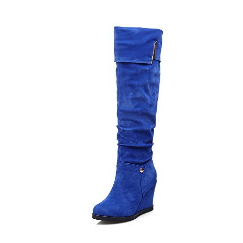 A&N Ladies Color Matching Thick Bottom Heel Round Toe Frosted Boots Blue