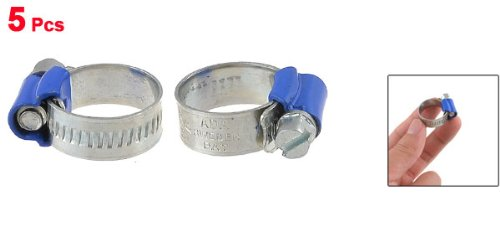 Uxcell Adjustable Pipe Hose Clamp Fastener 11mm to 17mm Blue Band a13030600ux0884 5 Piece
