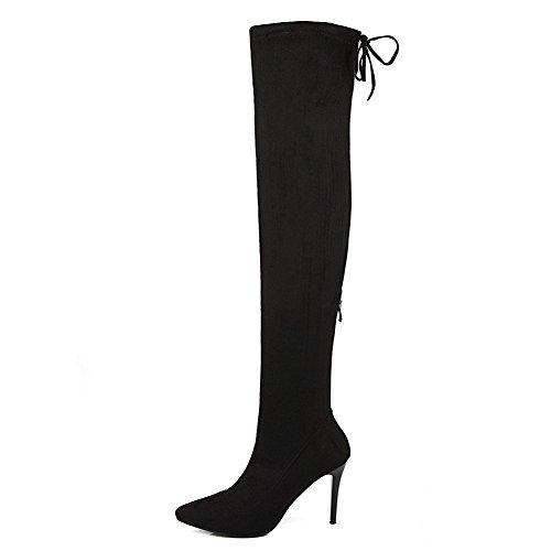 Black Zipper Winkle Pinker Boots Back Ladies Bandage Frosted BalaMasa aWgB8ZXg