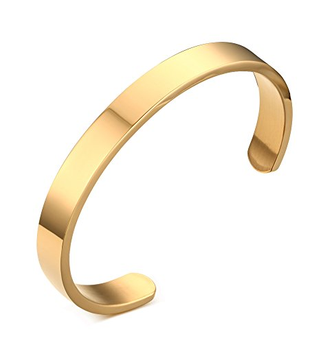 8mm Width Stainless Steel Plain Polished Finish Cuff Bangle Bracelets for Men Women, Gold Plated (14k Gold Personalized Bangles)