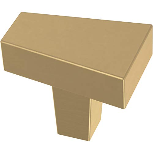 Franklin Brass P40830K-117-C Angled Kitchen or Furniture Cabinet Hardware Drawer Handle Knob, 1-3/16-Inch (30mm), Brushed Brass, 10-Pack