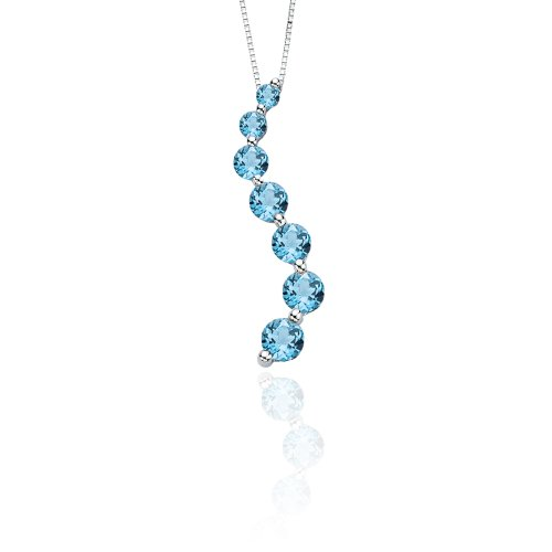 KATARINA Blue Topaz Journey of Love Curve Pendant Necklace in Sterling Silver (2 1/3 cttw) -