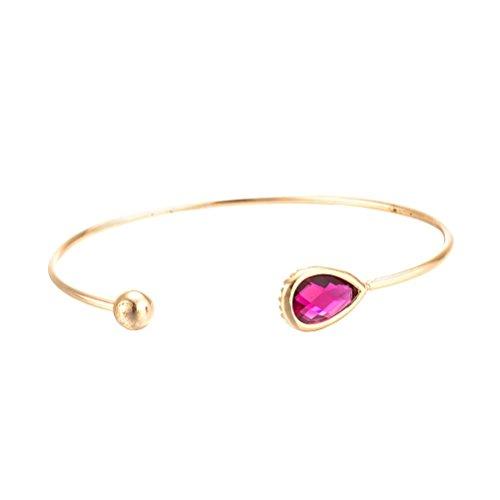 FENICAL Pure Brass Vintage Crystal Pearl Detail Bangle Bracelet (Rose Red) ()