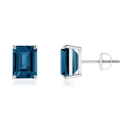(Gifts for Mom - Claw-Set Emerald-Cut London Blue Topaz Solitaire Earrings in 14K White Gold (8x6mm London Blue Topaz))