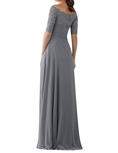 Lace Gowns Chiffon Evening Dresses with Bride Grey The of Mother Sleeves Long Beaded XXvRqw8A