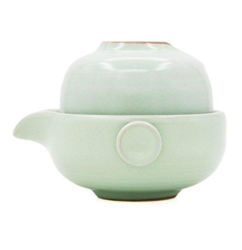 Vegali Celadon Pumpkin-Style Portable Gongfu Tea Set -100% Handmade Chinese / Japanese Vintage Gongfu Teaset - Porcelain Teapot & Teacups (Celadon-E)