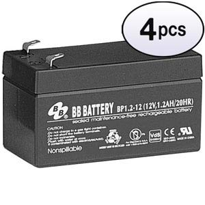 GOWOS (4 Pack) 12V 1.2Ah Battery, T1 Terminal BP1.2-12-T1