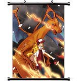 Home Decor Trendy Handsome Anime Art Cosplay Poster with Ash Charizard And Pikachu Anime Wall Scroll Poster Fabric Painting 24 X 36 Inch (60cm X 90 -