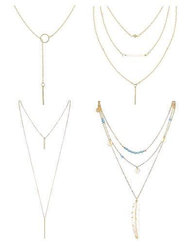 Finrezio 4 PCS Layered Necklaces for Women Girls Long Lariat Y Pendant Necklace Gold-tone Jewelry Set