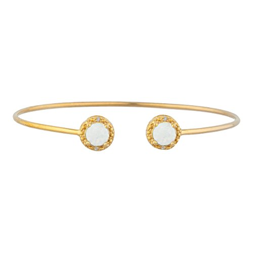 (Genuine Opal & Diamond Round Bangle Bracelet 14Kt Yellow Gold Plated Over .925 Sterling Silver)