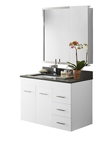 RONBOW Bella 36 inch Bathroom Vanity Set in White, Bathroom Vanity Cabinet with Drawer, Bathroom Vanity with Top in Gray, Bathroom Mirror with Wall Cabinet, White Ceramic Vessel Sink 011223-W01_Kit_1 (Beveled Mirror Sliding Closet Door)