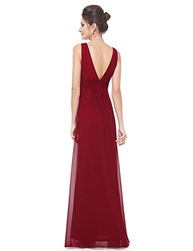 Borgoña Largo 08110 en para Noche Pretty V Corte de Mujer Vestido Ever Imperio Escote ZOU1qw6H