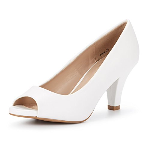 DREAM PAIRS Women's Susan White PU Fashion Stilettos Peep Toe Pumps Heels Shoes Size 5.5 B(M) ()