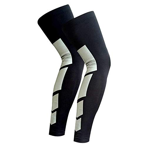 Anti Slip Full Length Compression Leg Sleeve Calf&Shin Splint Support Protect for Pain Relief &Recovery ,Single