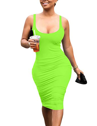 Mokoru Women's Casual Basic Pencil Tank Dress Sexy Sleeveless Bodycon Midi Club Dress, Small, Light Green