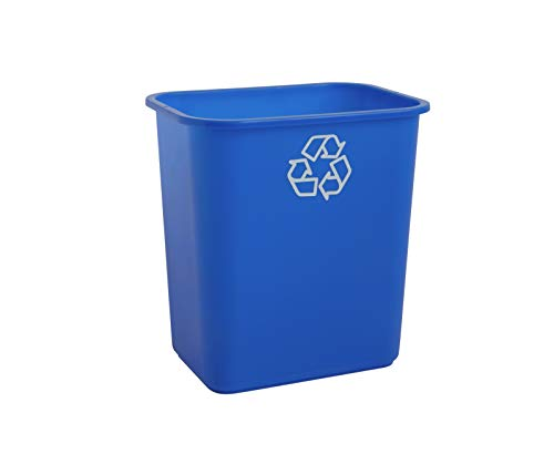 United Solutions 7 Gallon/28 Quart Efficient Recycle Wastebasket | Fits Under Desk | Small, Narrow Spaces in Commercial, Kitchen, Home Office, Dorm | Easy to Clean, 1 Pack, Blue