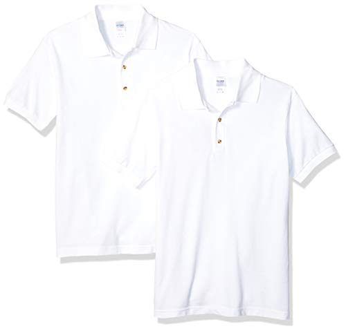 Gildan Men's Ultra Cotton Pique Sport Shirt, 2-Pack, White Large
