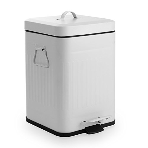 [BINO Stainless Steel 1.3 Gallon / 5 Liter Square Step Trash Can, Matte White] (Square Steel Step)