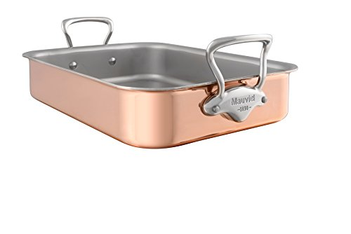 Mauviel Made In France M'heritage 150s 6117.30 11.8 by 8.6-Inch Rectangular Roasting Pan with Cast Stainless Steel Handle