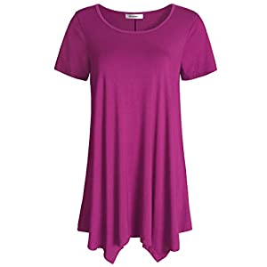 Esenchel Women's Short Sleeves Tunic Shirt Loose Fit Leggings Top