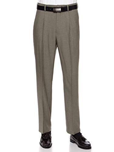 RGM Mens Dress Pants, Formal and Work Slacks for Men - Pleated Front Cuffed Hem Heather Olive 34 Short