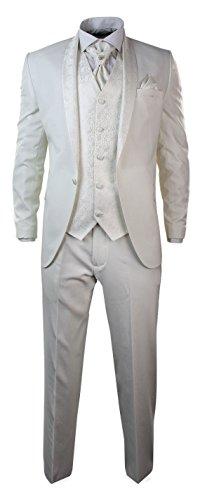 Tru Clothing Mens Wedding Party Suit Tuxedo 5 Piece Round Shawl Lapel Diamonte Trim Cream Ivory 38