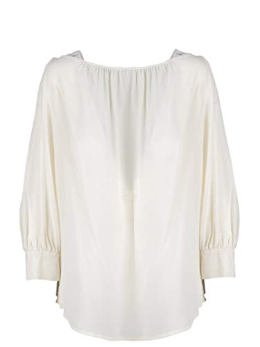 Y8AU03MALGA Femme Blanc Soie COUTURE Blouse SEMI UBvxEa