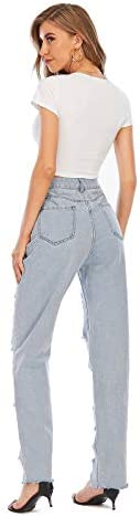 Nother Women's Casual Jeans Torn Distressed Jeans    Material: 80%cotton and 20%polyester. High quality stretchy material can increase the convenience of activity and make it be durable and comfortable to wear all day.Features:Denim fabric for washed effect, it is both stretchy and durable, skinny style jeans with asymmetric distressed details at knee.Design:Slim through hip and thigh shows a perfect body curve. Zipper fly and utility pockets are practically for daily life.Occasion: home casual pants; shopping; holiday; street fashion; daily wear.Contact us:Please contact us,if you are not completely satisfied with the item.We will try our best to solve your problem as early as we can.
