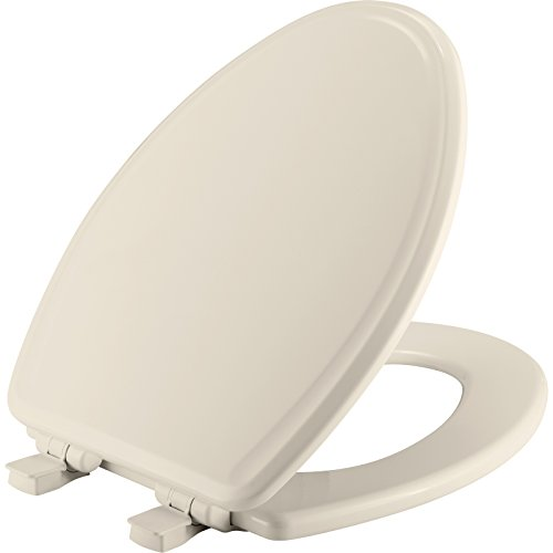 (MAYFAIR Toilet Seat will Slow Close, Never Loosen and Easily Remove, ELONGATED, Durable Enameled Wood, Biscuit/Linen, 148SLOWA 346 )