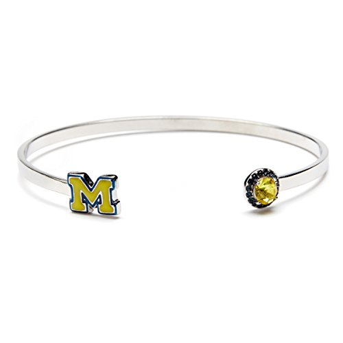 - University of Michigan Bracelet | UM Maize Block M Bangle Bracelet with Crystal | Officially Licensed University of Michigan Jewelry | Michigan Bracelet | UM Wolverines | Stainless Steel