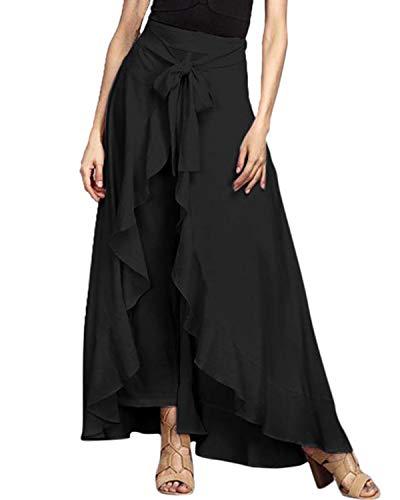 FLORHO Women Casual Ruffle Palazzo Long Pants Split High Waist Pleated Maxi Skirt Black 3XL ()