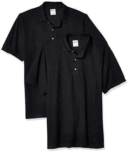 Gildan Men's Ultra Cotton Pique Sport Shirt, 2-Pack, Black ()