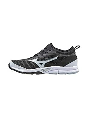 Mizuno Women's Players Trainer 2 Fastpitch Turf Softball Shoe, Black/White, 5 B US