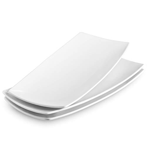 KooK Serving Trays, Rectangular Platters, Ceramic, White 11.8 in, Set of 3