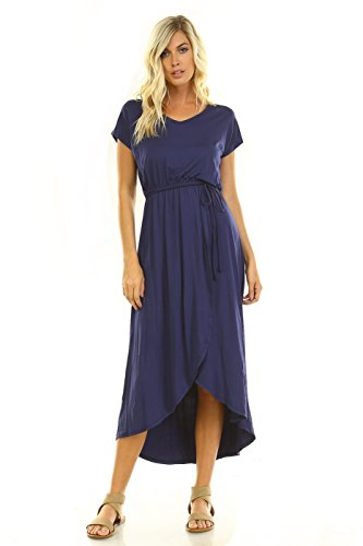 Women's V-Neck Tulip Wrap Maxi Dress (Navy, Large) - Jersey Tulip Dress
