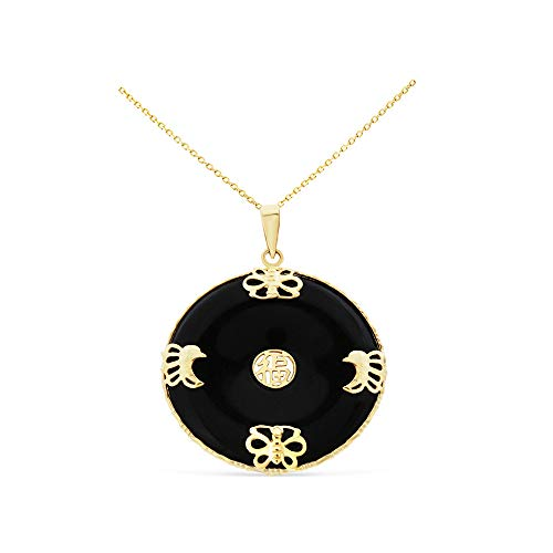 14K Yellow Gold Genuine Natural Black Onyx Circular Shaped Butterfly Lucky Pendant With Square Rolo Chain