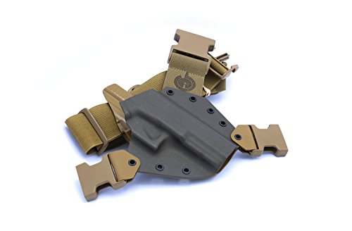 GunfightersINC Kenai Chest Holster for Glock 20/21/40 MOS, MAS Grey/Coyote, Right Hand ()