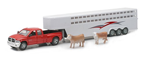 New Ray Dodge Ram 3500 Truck Fifth Wheel with Horse Trailer and 2 Cows