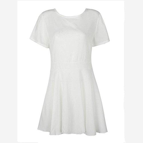 Blanco De Blanco O De Vestido Fiesta con Las El Corta Mujeres Vestido Chiffon Verano XINGMU Vestido Manga Cuello Visten wpqFFE
