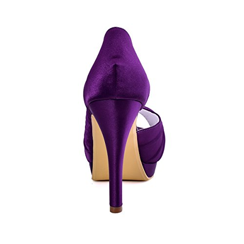ElegantPark Women High Heel Pumps Platform Peep Toe D'orsay Pleated Satin Evening Prom Wedding Shoes Purple online cheap quality 2gutWMf