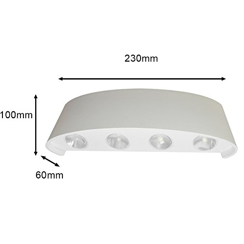 Wall Sconce,Modern 8W Aluminum Waterproof LED Up Down Wall Light Lighting Spotlight Aluminum Fixture Decorative Lights Wall Lamp AC85-265V(White, Warm White) by Jenny-mall (Image #1)