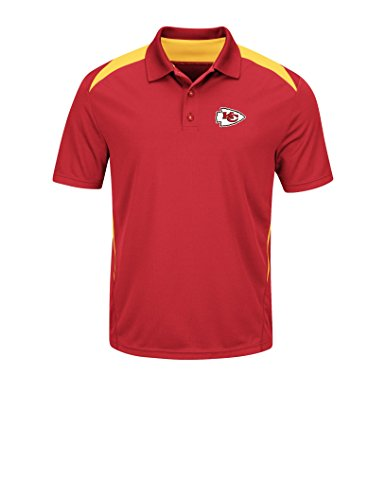NFL Kansas City Chiefs Men's Synthetic The Front Office Polo Tee, Small, Athletic Red/Yellow Gold (Broncos Polo Denver)