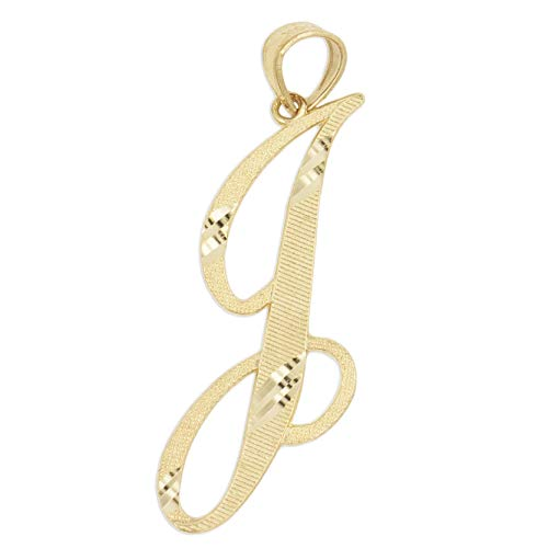 (Ice on Fire Jewelry 14k Solid Real Gold Cursive Initial Pendant, English Alpahbet A-Z Letter Charm with Diamond Cut (J))