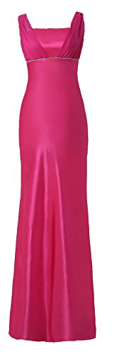 Satin Chiffon Holiday Bridesmaid Long Formal Gown Crystals Junior Plus Fucshsia XX-Large