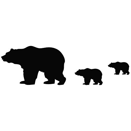 North Pole Bear Family - Animal Decal [15cm Black] Vinyl Removable Decorative Sticker for Wall, Car, Ipad, Macbook, Laptop, Bike, Helmet, Appliance, Instrument, Motorcycle, Suitcase