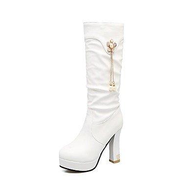 Chunky Puntera Vestimenta Para Redonda Mid Botas Polipiel Amarillo 5 Zapatos CN43 Negro De Botas 5 Moda Casual EU42 Mujer Perla RTRY Imitación Botas Invierno US10 Calf Talón UK8 v8qwUw