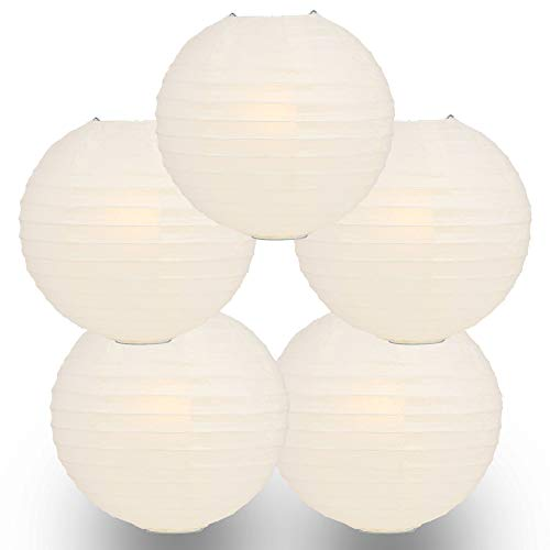 Quasimoon PaperLanternStore.com (5-Pack) Round Paper Lanterns, Even Ribbing, Hanging Decoration for Weddings and Parties