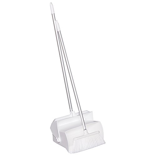 Remco 62505 Lobby Dustpan with Broom, Polypropylene/Polyester/Aluminum, 7'' X 14'' Bin, 37'' Handle, White by Remco